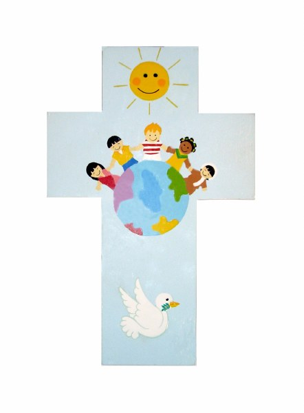 Blue Children of the World Wooden Cross (20cm)