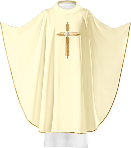 Cream Chasuble Embroidered Cross with IHS Symbol