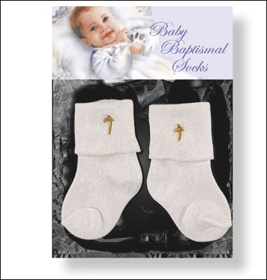 White Baptismal Baby Sock Set