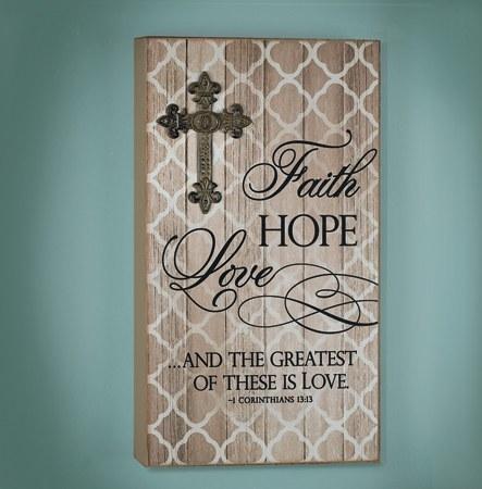 Faith Hope and Love Wood Prayer Plaque