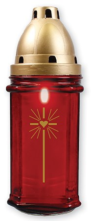 Red Glass Grave Light with Candle