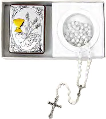 First Holy Communion Icon and Rosary Beads