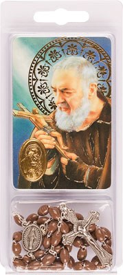 St. Padre Pio Rosary Beads and Leaflet