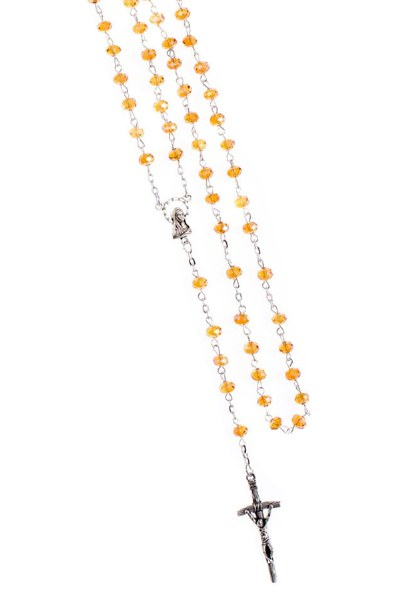 Amber Crystal Rosary Beads