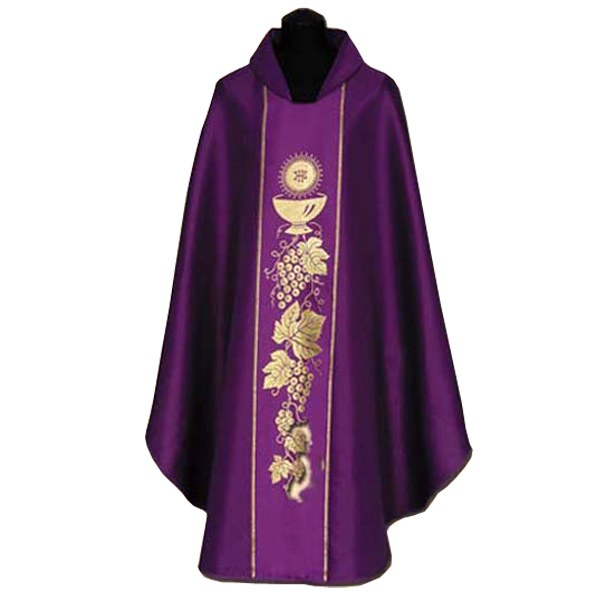 Purple Chasuble,  Gold cup and grapes Symbols