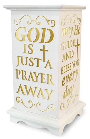 God is just a prayer away wooden LED lantern for graves