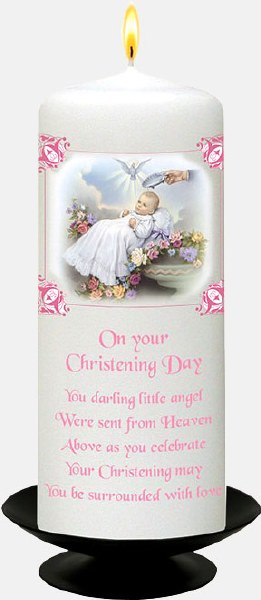 Traditional Baby Girl Christening Candle