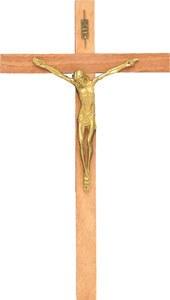 Wooden Crucifix with Brass Corpus (37cm)