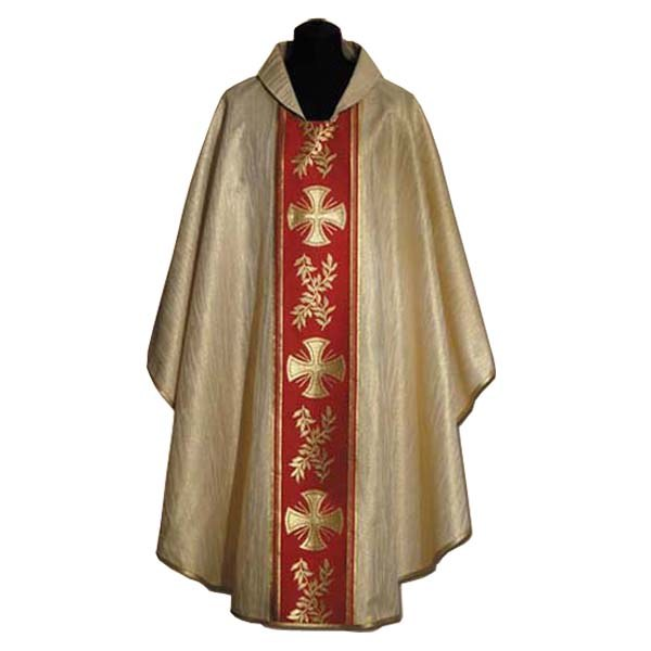 Gold Chasuble with red orphrey and gold cross
