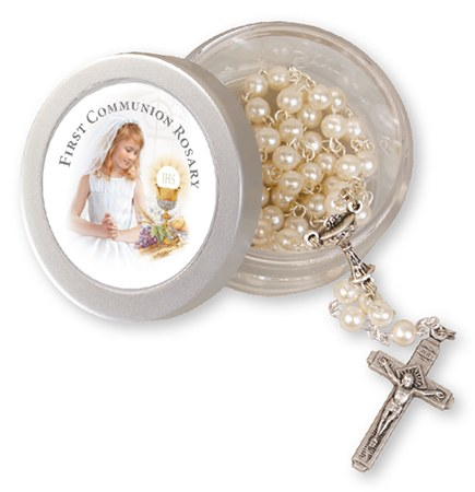 Glass First Holy Communion Rosary Beads