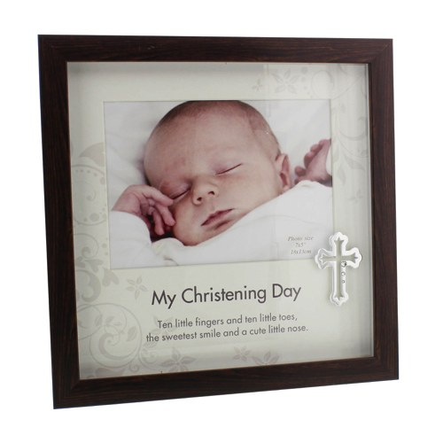 Wood Christening Frame with Silver Cross Icon