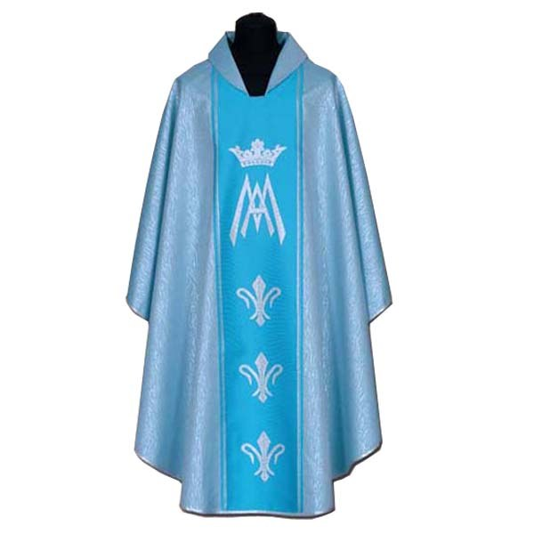 Silver and Blue Marian Chasuble