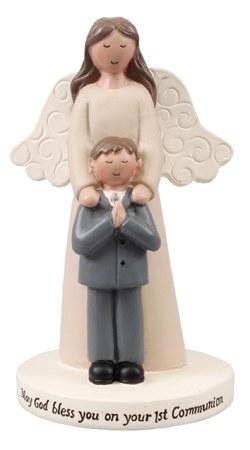 Praying Boy and Angel Statue 10cm