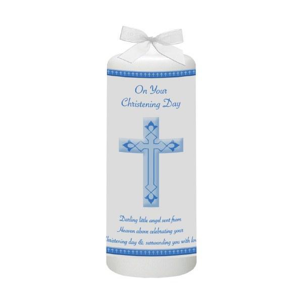 Blue Modern Cross Baptism Candle
