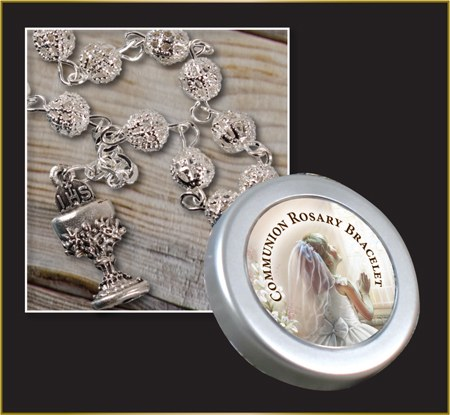 Gilrl Silver Filigree First holy Communion Rosary Beads