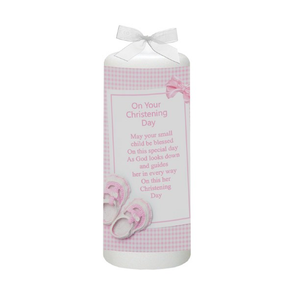 Pink Gingham Bow and Shoes Christening candle 15cm