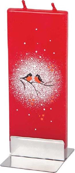 Christmas Robins Handmade Flat Candle