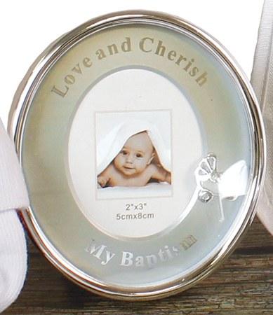 Baptism Round Photo Frame with Metal Pram Motif