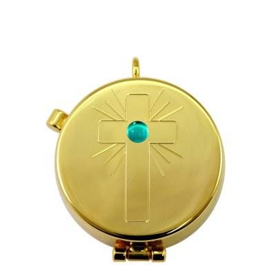 Gold Pyx with Cross design and Aqua Stone (4 hosts)