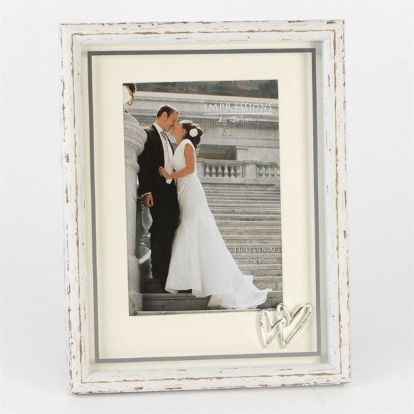"Juliana Silverplated Wedding Frame with Heart Icons 5"" x 7"""