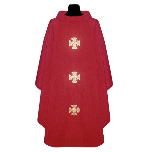 Red Chasuble with Embroidered Crosses