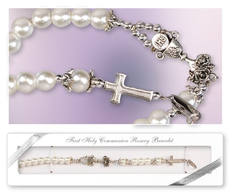 First Holy Communion Pearl rosary bracelet