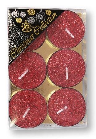 Red Glitter Tealight set of six