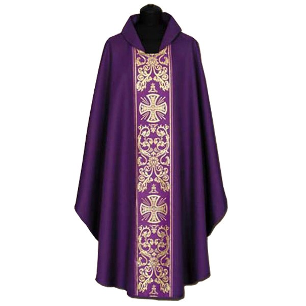 Purple Chasuble, Gold Printed cross symbols