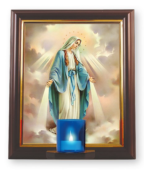 Miraculous Wood Framed Picture with Votive Light (30 x 25.4cm)