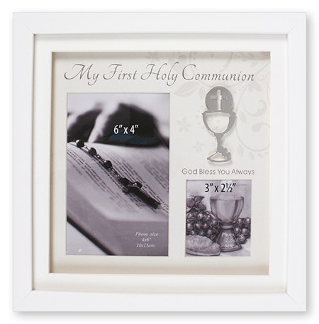 White First Holy Communion Wooden Style Photo frame