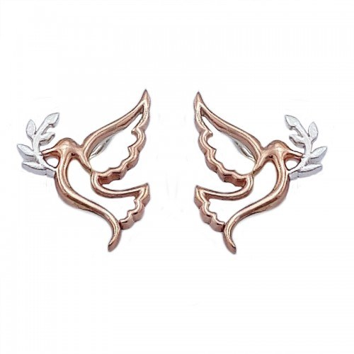 Rose Gold and Silver Dove of PeaceConfirmation Earrings