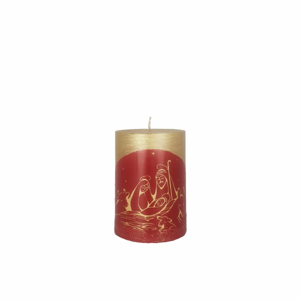 Red and Gold Nativity Scene Candle (10 x 7cm)