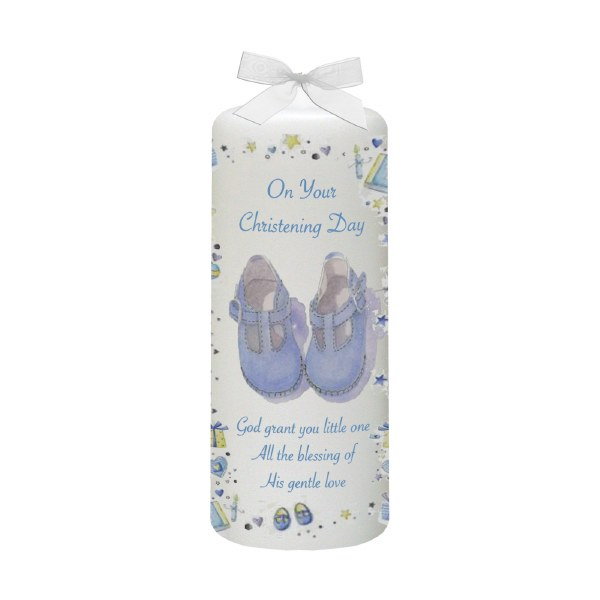 Blue Stars and Hearts Christening candle 15cm