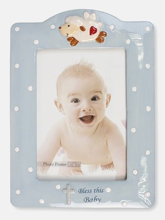 Blue Lamb Bless This Baby Frame