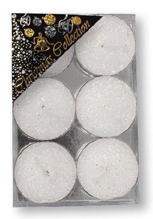 White Glitter Tealight Set of Six