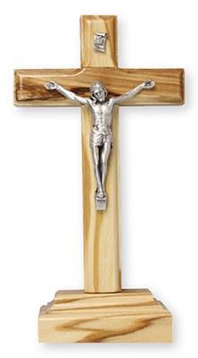 Standing Olive Wood Crucifix (14cm)