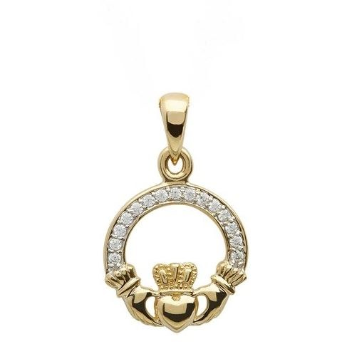 10Kt Gold Cubic zirconia Claddagh Pendant