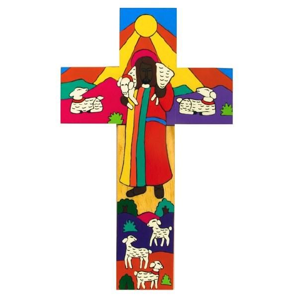 Modern Good Shepherd Hand Painted Wooden Cross (38cm)
