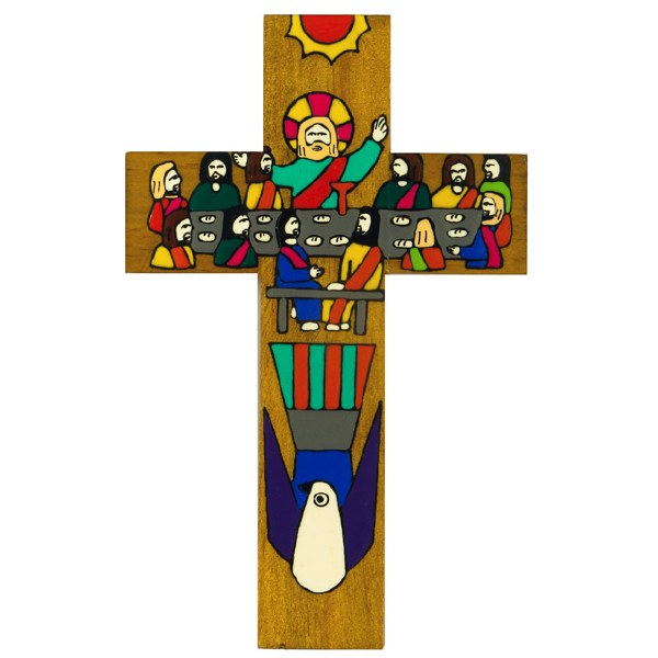 The Last Supper Hand Painted Wooden Cross (38cm)