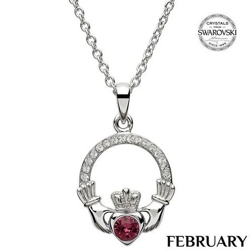 Claddagh Birthstone Necklace With Swarovski Crystals (February)
