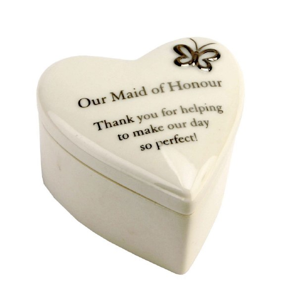 Amore Porcelain Heart Trinket Box 'Maid of Honor'