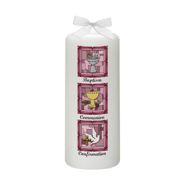 Pink BCC Font Baptism Candle