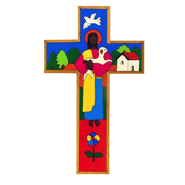 Traditional Good Shepherd Painted Wooden Cross (38cm)