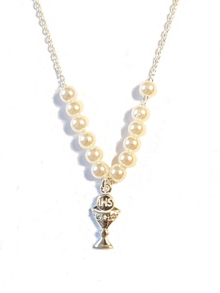 Pearl and Chalice First Holy Communion Necklet