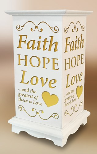 Faith Hope and Love LED Wood Lantern
