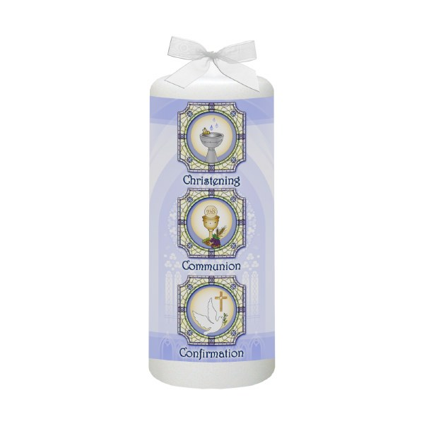Blue BCC Church Window Baptism Candle