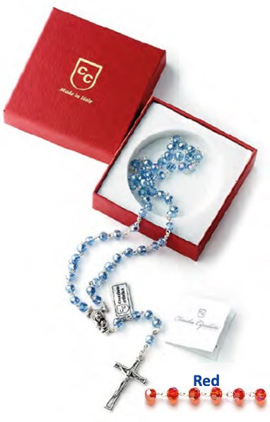 Red Crystal Rosary Beads Gift Boxed