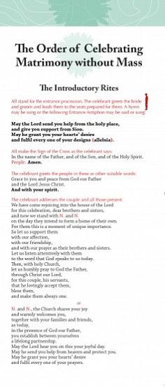 Order of Celebrating Matrimony without Mass