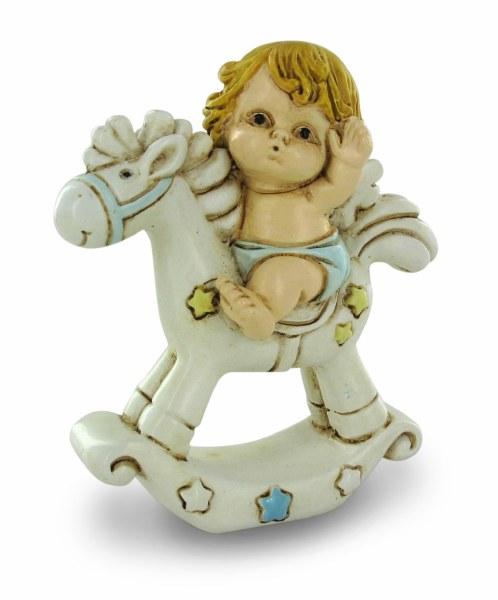 Blue Baby Boy Angel on Rocking Horse
