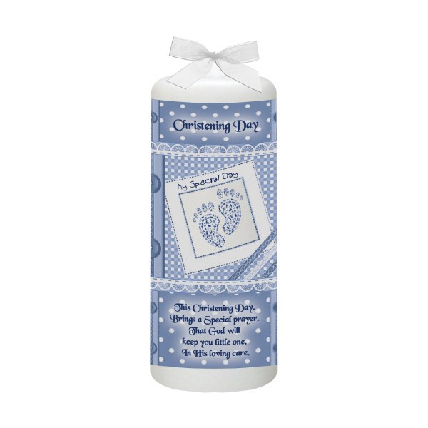 Blue Baby Footprints Christening Candle